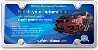 DFDM National Stainless Steel License Plate Frame (Mirror Polish) Inlcudes Screws, Fasteners, Chromed and Stainless Caps and Insulating Foam Pads, 4 Hole Anti-Theft Model