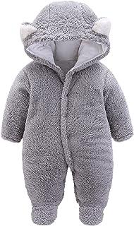 طفل الفتيان الفتيات الشتاء رومبير الوليد الدافئة الصوف بذلة أبلى الزي ملابس الأطفال (Color : Gray, Size : 9-12 Months)