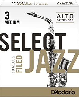 Rico Select Jazz Alto Sax Reeds, Filed, Strength 3 Strength Medium, 10-pack