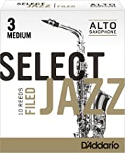 Rico Select Jazz Alto Sax Reeds, Filed, Strength 3 Strength Medium, 10-pack