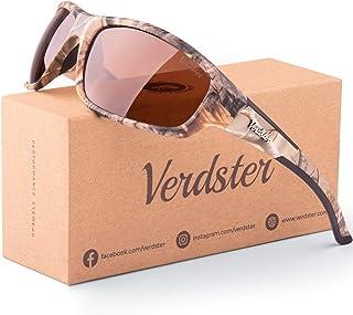 Gafas de sol polarizadas Verdster Camo – Protección UV – Gafas de Sol Marrones con Diseño de Camuflaje con Lentes de color Ámbar – Ideales para Pescar – Una Funda Suave y un Paño de Limpieza Incluidos