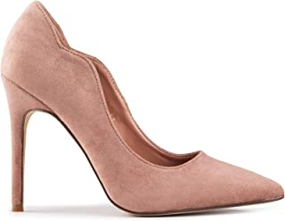 Baldi Women's Peul Beige/Black/Red high Heel mid Dress Shoes High Heel Classy Summer Shoes, Pointy Toe Comfy for Office and Outdoor