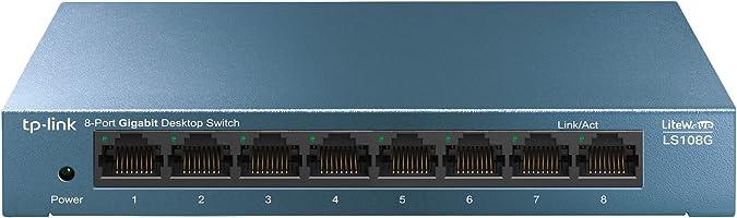 TP-Link LS108G - Switch 8 Puertos (10/100/1000) Switch Ethernet Gigabit, Carcasa metálica, Ultraligero con Super...