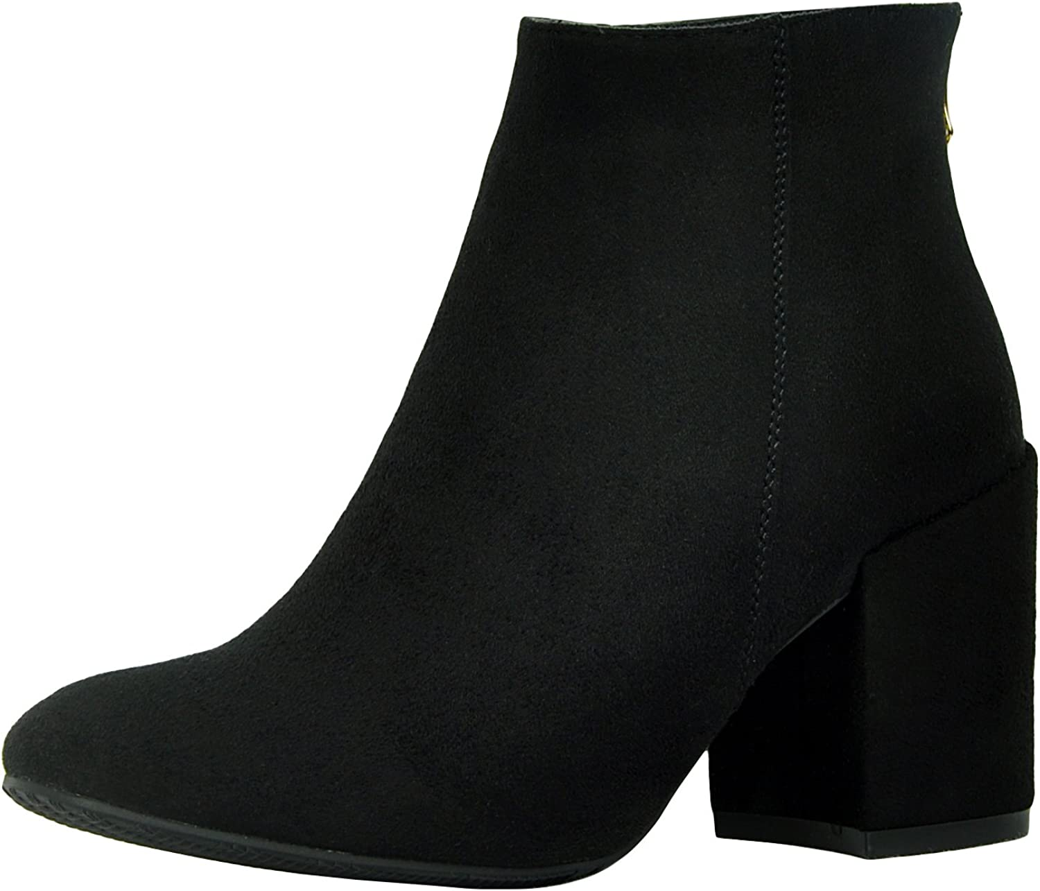 Refresh Footwear Women's Classic Closed Toe Chunky Block Heel Ankle Bootie