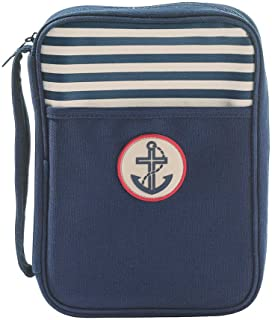 Navy with Anchor and Stripes Bible Cover Carrier, Large