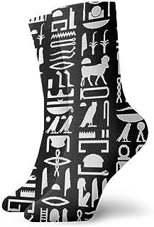 エジプトの象形文字黒おしゃれなカラフルなファンキー柄コットンドレスソックス11.8インチ