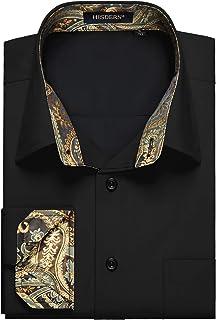 comprar comparacion HISDERN Camisa de Contraste Interior para Hombre, Informal, Formal, Clasica, con Botones, Camisas de Vestir, Manga Larga, ...