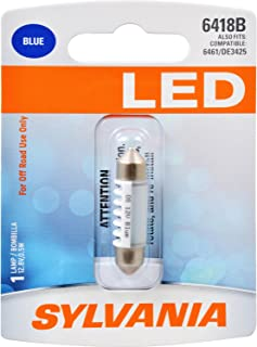 SYLVANIA - 6418 36mm Festoon LED Blue Mini Bulb - Bright LED Bulb, Ideal for Ash Tray, Dome, Engine Compartment and More. (Contains 1 Bulb)