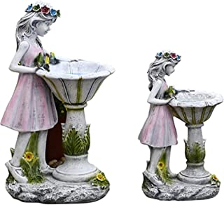 Solar Fairy Statue with LED Lights Bird Bath, Outdoor Girl Figurine Wear Glowing Corolla Ornament, Fairy Décor for Garden,...