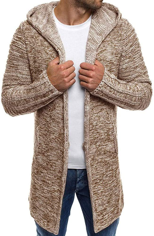 HAPPYSTORE Men Cardigan Coat Sweater Long Sleeve Hooded Knit Trench African Winter Comfortable Pocket Jacket