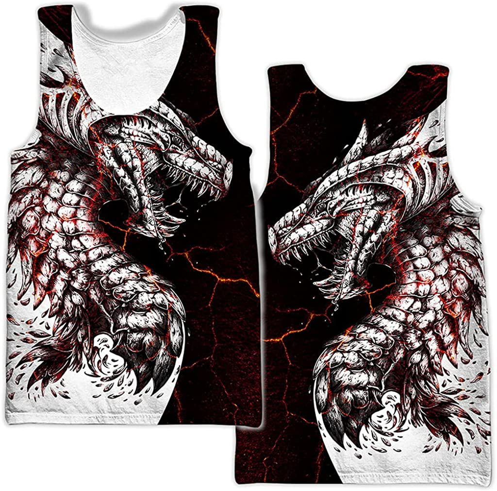 Mens 3D Printed Black & White Tattoo Dragon Hoodie Set, Unisex Graffiti Pullover, T Shirt, Shorts