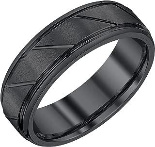 Mens 7mm Black Tungsten Wedding Band