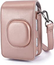 Phetium Protective Case Compatible with Instax Mini Liplay Hybrid Instant Camera and Printer, Soft PU Leather Bag with Removable/Adjustable Shoulder Strap (Blush Gold)