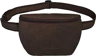 """STILORD Jules"""" Gürteltasche Leder klein Vintage Bauchtasche Reisetasche für Herren Damen Hüfttasche für Party Festival Konzert und Handy, Farbe:matt - Dunkelbraun"""