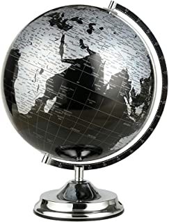 Black & Silver World Globe Map with Swivel Stand Geography Educational Toy Modern Desktop Decoration Educational Toy Kid G...