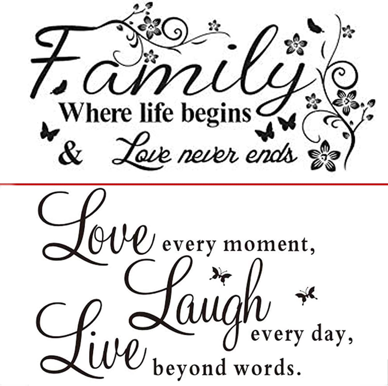 2 Pack Family Love Art Quotes Words Design Wall Decal Sticker. Live Every Moment,Laugh Every Day,Love Beyond Words, Wall Sticker Motivational Wall Decals, Family Inspirational Wall Stickers Quotes