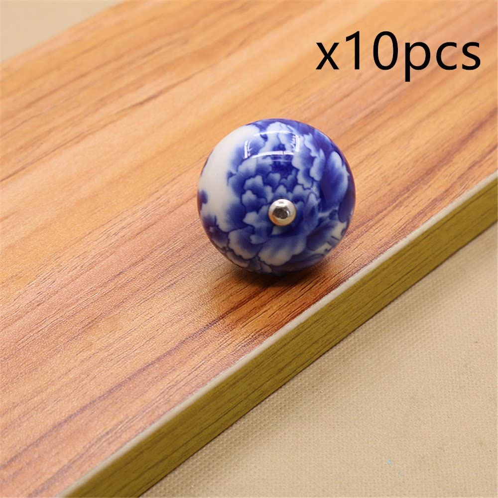 Ceramic Kitchen Cabinet Knobs Pulls Handles White Silver Blue Blossom  Dresser Drawer Pulls Knobs Handles Porcelain Door Handles Hardware