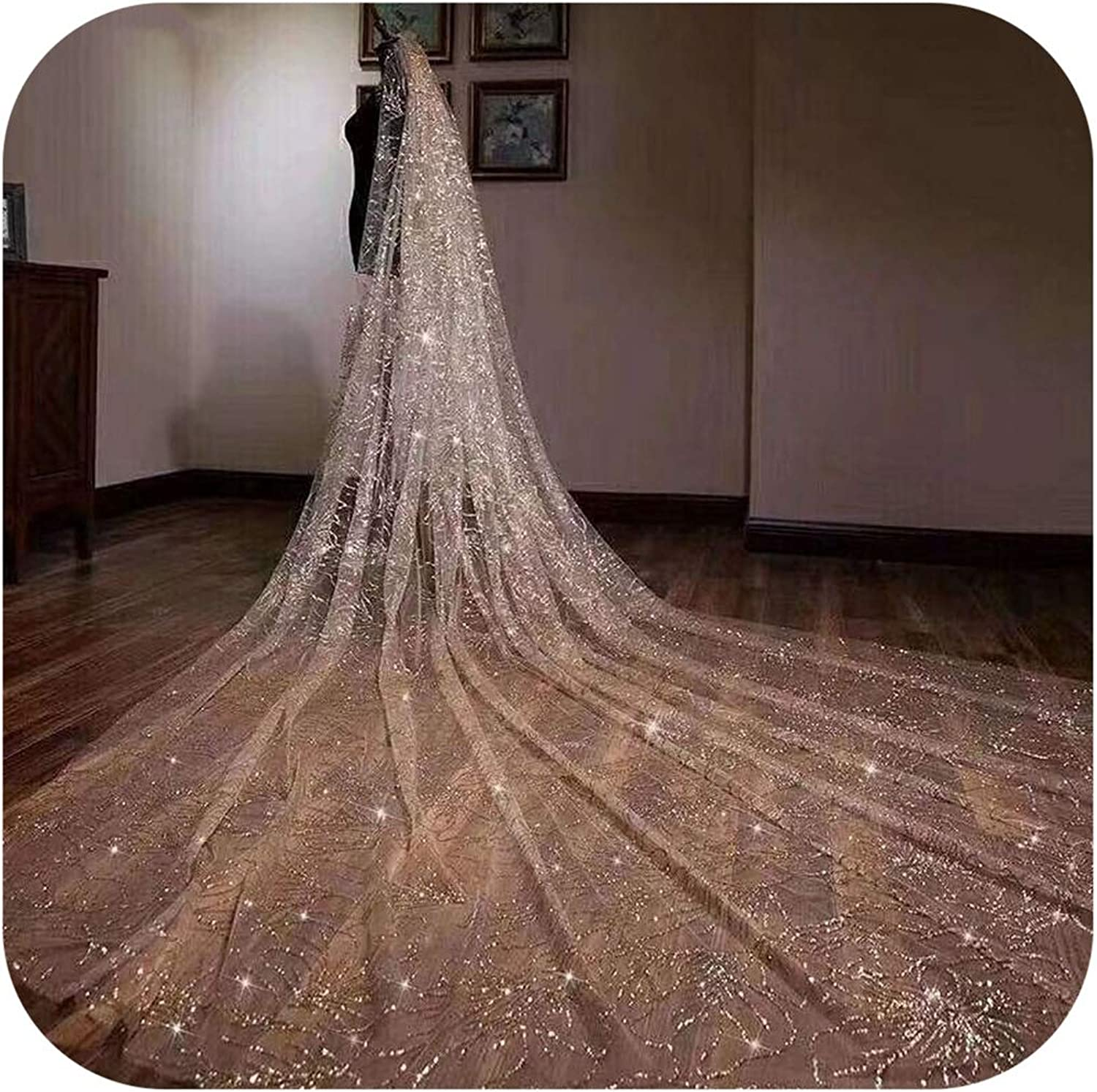 Nice warm Luxury Sequins New Mantilla Wedding Marry Headdress Accessories Long Cathedral Bridal Wedding Veil With Comb,Champagne,350Cm