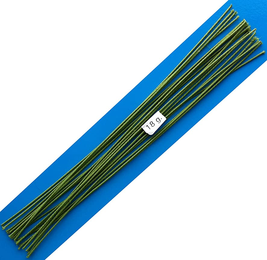 18 Gauge Green Cotton Covered Floral Wire - 20 feet per Bundle (6.1m) in 12 inch Lengths (30.5cm)