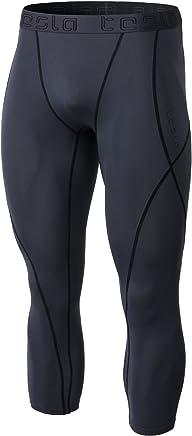 Tesla Men's Compression 3/4 Capri Shorts Baselayer Cool Dry Sports TightsMUC18