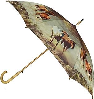 CTM Women's Auto Open Horse Print Stick Umbrella