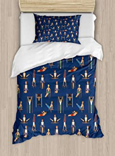 Gymnastics Duvet Cover Set, Bed Sheets, Cartoon Style Boys Working Out Fitness Themed Bodybuilding Athletic Characters, Decorative 3 Piece Bedding Set with 2 Pillow Sham, Twin Size, Multicolor