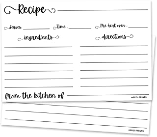 HerZii Prints Recipe Cards Double Sided - (Set of 50) Thick Premium Card Easy to Write -From the Kitchen of-for Bridal, Ba...