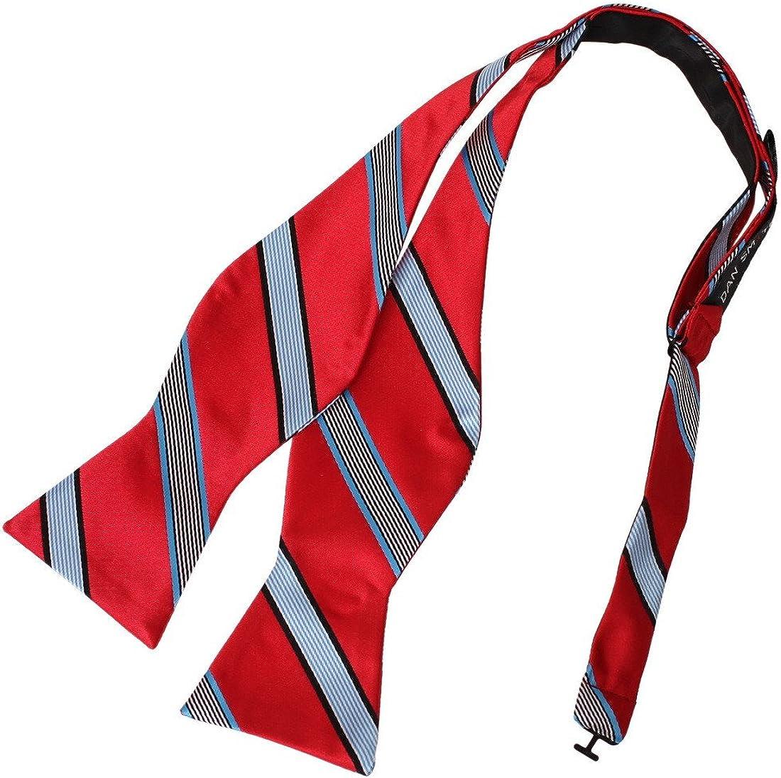 Dan Smith Men's Fashion Stripes Microfiber Self-tied Bow Tie With Box