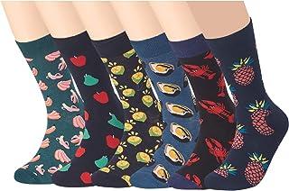 RedMaple, 6 pares de calcetines para hombre, multicolor, estampados, de algodón, talla 39-46