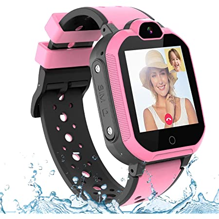 PTHTECHUS Bambini Smartwatch Localizzatore GPS 4G con Chat Video, Supporto SIM Card WiFi,SOS Help Camera Pedometro Compatibile con iPhone/Android Smartphone Bambini Regali(Rosa)