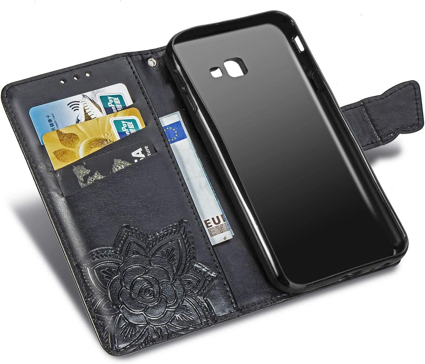 DESD040307 Blu Flip Custodia da Portafoglio in Pelle PU Sottile Protettiva con Slot per Schede e Chiusura Magnetica per Samsung Galaxy J4 Plus//J415FN Cover per Galaxy J4+ J4Plus