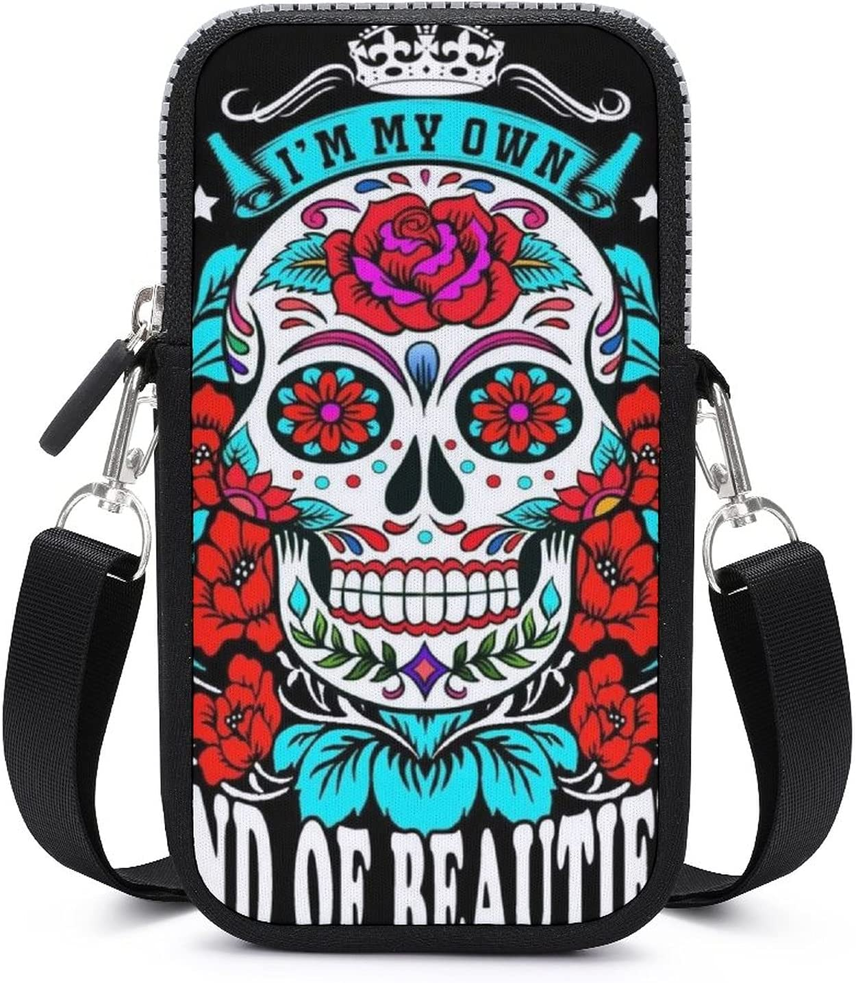 NiYoung Passport, Credit Card Universal Cell Phone Purse - ANI-Theft Water Resistant Multifunctional Jewelry Bag Skull Head Rose Wristlet Convertible Cross Body Bag