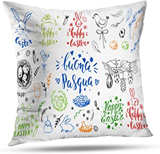 Pakaku Decorative Pillows Case Throw Pillows Covers for Couch Indoor Bed 20 x 20 Inch,Sketch Bunny Cake Willow Eggs Chicken Home Sofa Cushion Cover Pillowcase Gift Bed Car Living Home