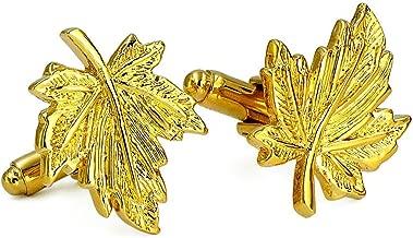 ENVIDIA Men's Gold Maple Leaf Leaves Shirt Cufflinks With Presentation Gift Box Suit Wedding Business
