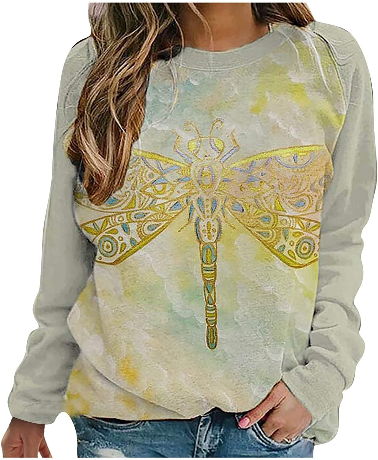 Eoailr Fashionable Womens Lightweight Daisy Dragonfly Crewn Top Letter New color Print