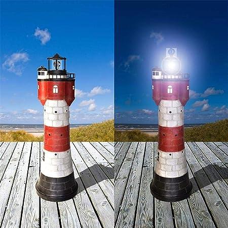 HEITIGN Solar Rotierende Leuchtfeuer Solarbetriebene Leuchtturm Rotierende Wasserdichte LED Solarlicht Leuchtfeuer Turm Dekorative Lampe Laterne Licht f/ür Garten Rasen Terrasse