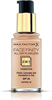 Max Factor Facefinity 3-in-1 All Day Flawless Light Matte Coverage Liquid Foundation, 50 Natural, 30ml, SPF 20