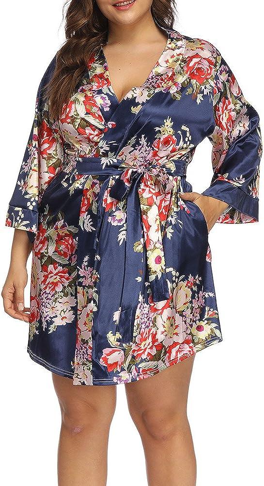 ALLEGRACE Plus Size Robes for Women Wrap Floral Print Satin Sleep Lounge Kimono Robe