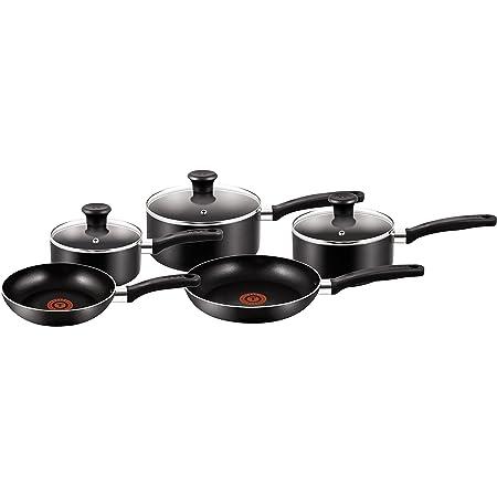 Tefal Essential Pots and Pans Set, 5 Piece, Black