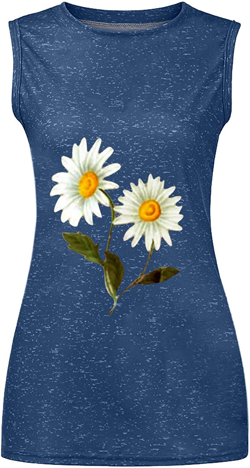 SGASY Women's Fashion Leisure Sunflower Printing Round-Neck Relaxed Sleeveless T-Shirt Tops Vest
