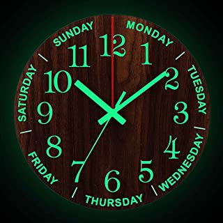 30Cm Wall Clock Luminous Week Wall Clock Nordic Fashion Wall Clock Wooden Watch Clock No Ticking Living Room Bedroom Decor...
