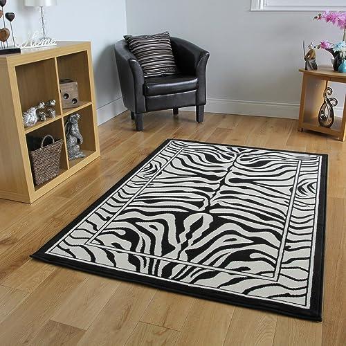 """Safari Animal Black & White Zebra Stripe Print Rug 120cm x 170cm (3ft 11"""""""