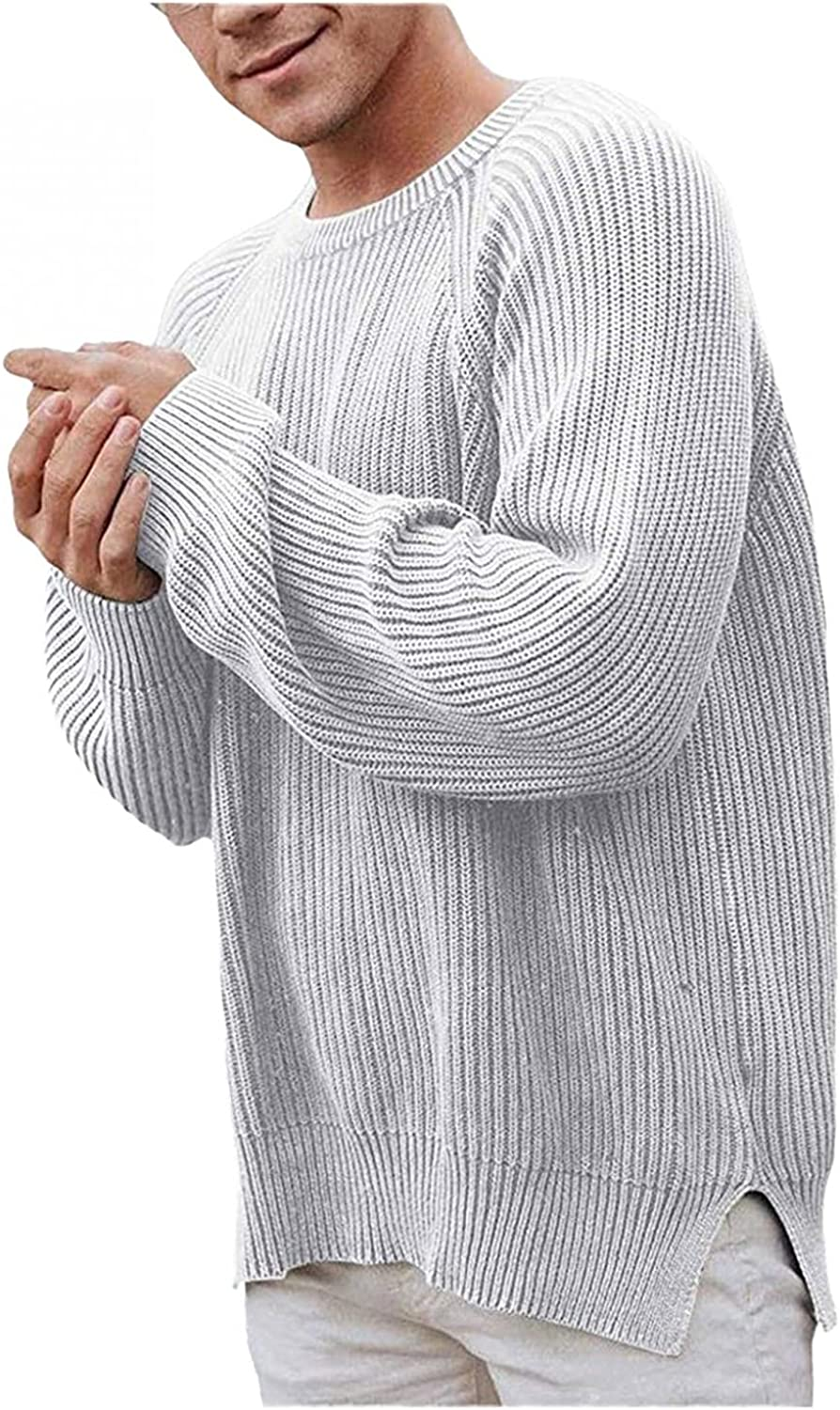 Burband Mens Casual Knit Pullover Sweaters Cozy Crewneck Rib Stitch Cable Knitwear Jumpers Lightweight Fisherman Sweaters