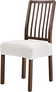 Subrtex Dining Room Chair Seat Slipcovers Sets, Removable Washable Elastic Cushion Covers, High Stretch Furniture Protector (2PCS, Creme Jacquard)