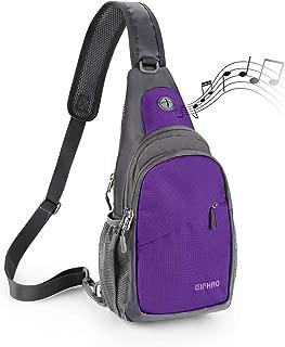 Elfhao Sling Bag Outdoor Waterproof Shoulder Backpack Chest Crossbody Bag Bike Women Men Girls Boys Travel Daypack (Purple)