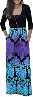 Trancylight Women Casual 3/4 Sleeve Floral Printed Long Maxi Dresses with Pockets
