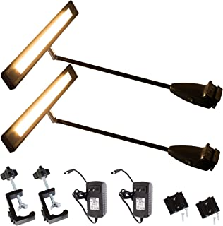 Trade Show LED Light, 2 Packs LEDupdates 24v Exhibit Display Lighting for Popup Booth, Back Drop Panel, Halogen Replacement, Includes UL Power Supply & Mounting C-Clamp Hardware (3000K Warm White)