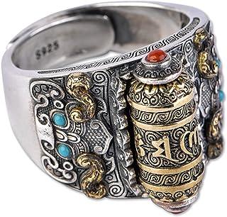 خاتم فضة إسترلينية يدوي الصنع عتيق S925 خاتم فضة للرجال والنساء، حجم قابل للتعديل مناسب للعديد من المناسبات، أفضل هدية للأ...