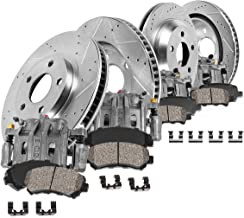 CCK11378 FRONT + REAR OE [4] Calipers + [4] Drilled/Slotted Rotors + Low Dust [8] Ceramic Pads Kit