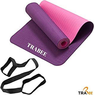 """Trabee Yoga Mat - Eco Friendly TPE Material, Reversible and Non Slip Excercise & Fitness Mat (72""""x 24""""x 1/4"""" Thickness) for All Types of Yoga, Pilates and Floor Excercises with Carrying Strap"""